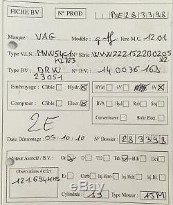 Boite 6 vitesses Golf IV Audi A3 Bora 1.9 Tdi type DRW 121 694 kms