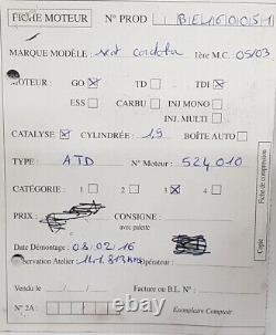 Moteur Audi A3 Golf Polo Bora Ibiza 1.9 Tdi 100ch type ATD 141 813 km