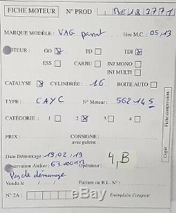 Moteur Golf Polo Ibiza Audi A3 1.6Tdi 105ch type CAYC 63 100 kms